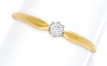 Foto 1, Antiker Diamantring 0,14ct in Gold und Platin, S1863