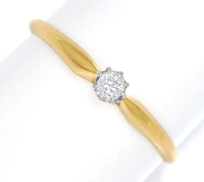 Foto 2, Antiker Diamantring 0,14ct in Gold und Platin, S1863