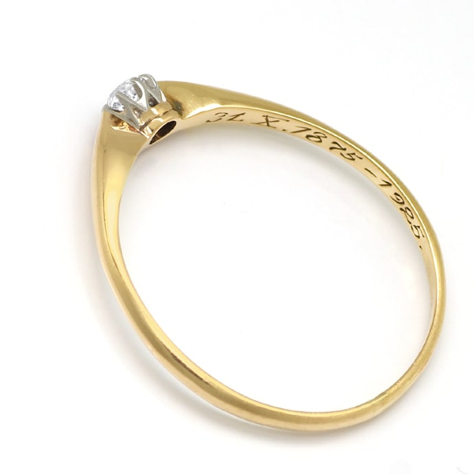 Foto 3, Antiker Diamantring 0,14ct in Gold und Platin, S1863