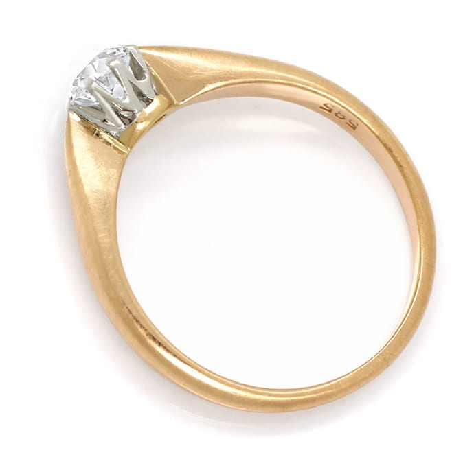 Foto 3 - Antiker Solitär Diamantring 0,41ct in Platin und Rotgold, S1895