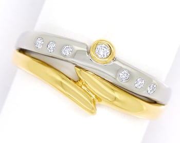 Foto 1, Designer Diamantring 0,12ct Brillanten in Bicolor Gold, S1898