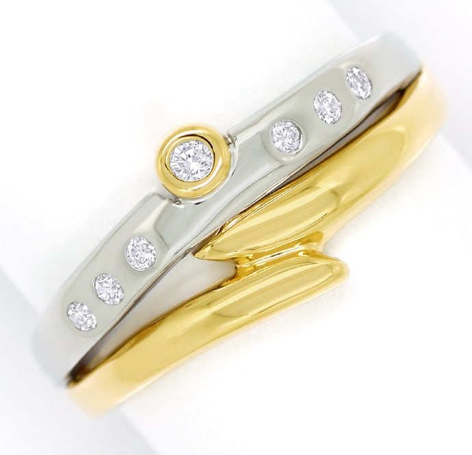 Foto 2, Designer Diamantring 0,12ct Brillanten in Bicolor Gold, S1898