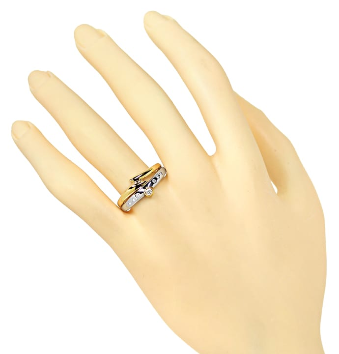 Foto 4, Designer Diamantring 0,12ct Brillanten in Bicolor Gold, S1898