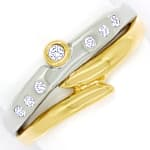 Designer Diamantring 0,12ct Brillanten in Bicolor Gold