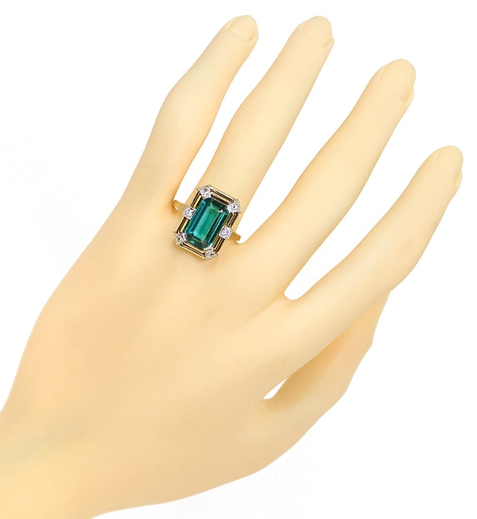Foto 4, Antiker Diamantring 3,7ct Turmalin in 14K Gold, S1900
