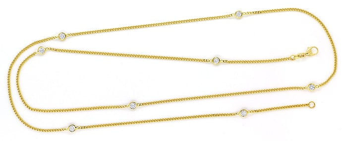 Foto 1, Collier Panzerkette mit 0,85ct Diamanten 585er Gelbgold, S1904