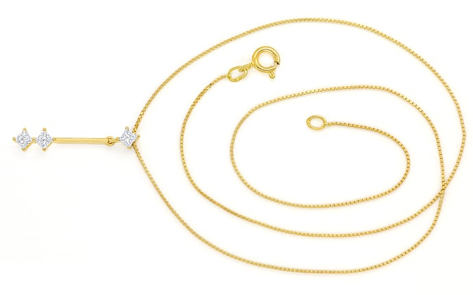 Foto 1 - Collier mit 0,30ct Princess Diamanten in 750er Gelbgold, S1908