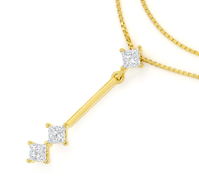 Foto 2 - Collier mit 0,30ct Princess Diamanten in 750er Gelbgold, S1908