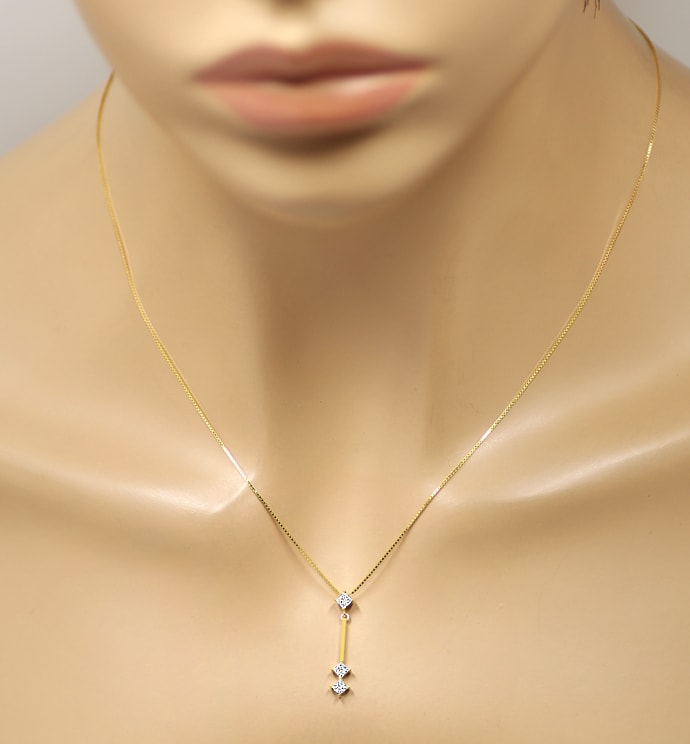 Foto 4 - Collier mit 0,30ct Princess Diamanten in 750er Gelbgold, S1908