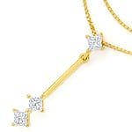 Collier mit 0,30ct Princess Diamanten in 750er Gelbgold