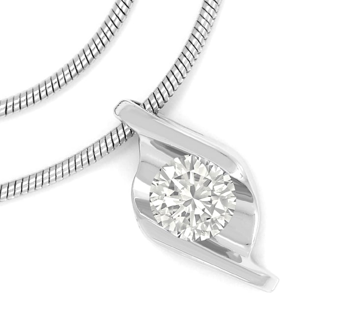 Foto 2 - Collier mit 0,30ct Brillant Solitaer in 750er Weissgold, S1910