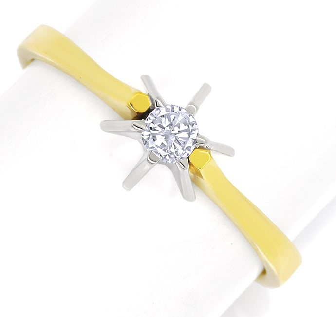 Foto 2 - Diamantring mit 0,10ct Brillant Solitär in 14K Gold, S1916