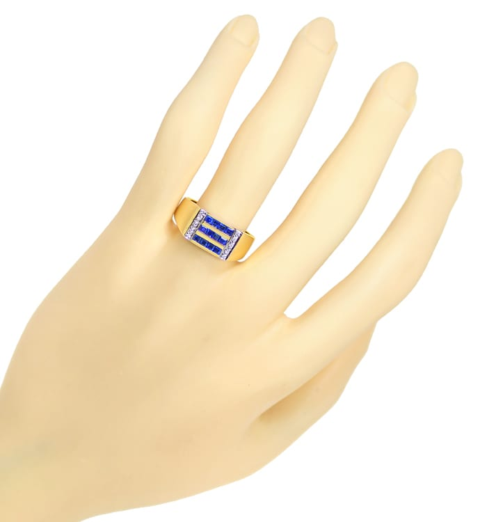 Foto 4 - Diamantring 0,8ct TOP Saphir Carrees und Brillanten, S1926