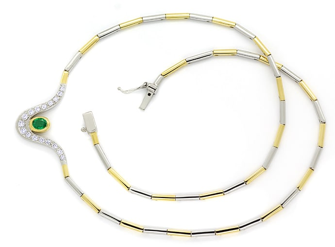 Foto 1, Collier fantastischer Smaragd und Diamanten in 18K Gold, S1930