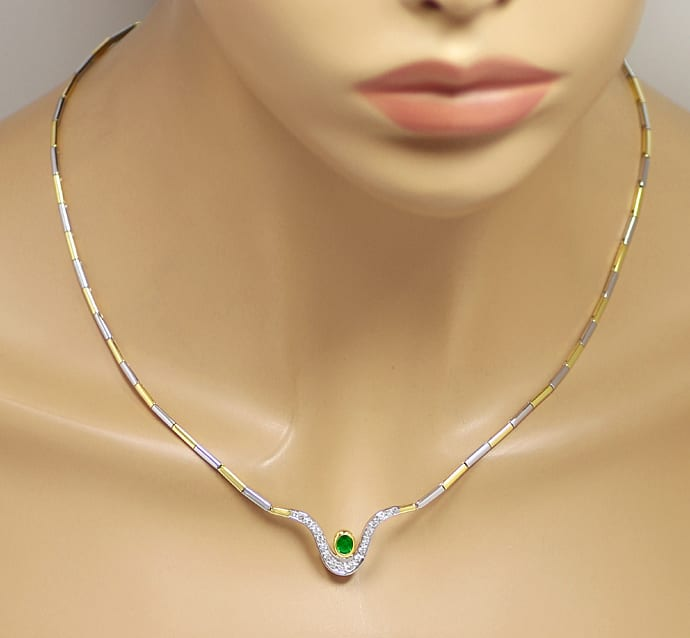 Foto 4, Collier fantastischer Smaragd und Diamanten in 18K Gold, S1930