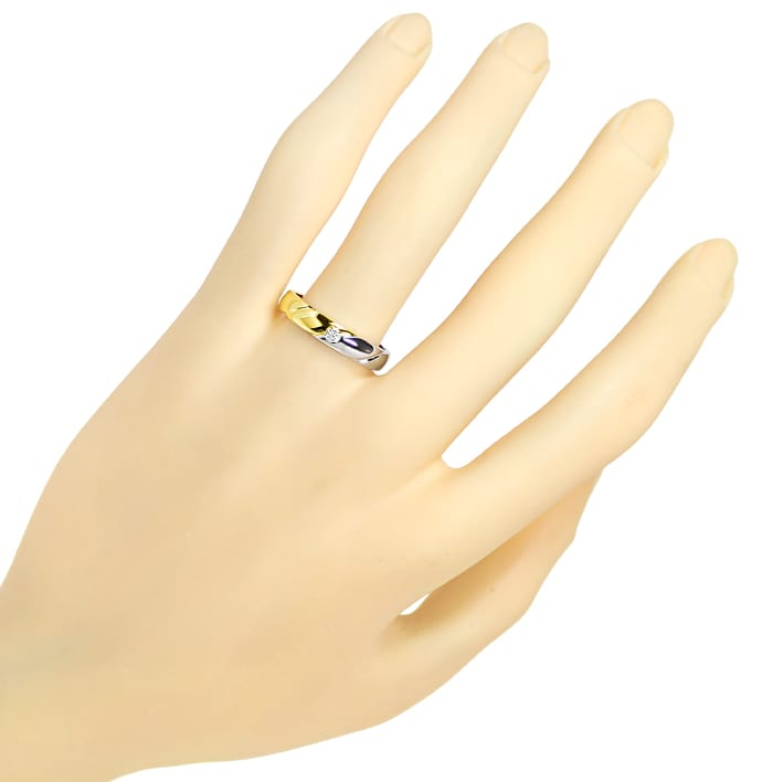Foto 4 - Diamantring Bicolor mit Brillant Solitär in 14K Gold, S1938