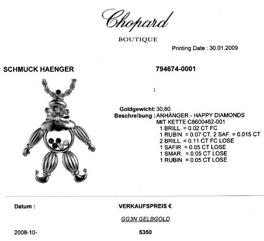 Foto 9, Chopard Happy Diamonds Clown Kette, Safir Rubin Smaragd, S1960