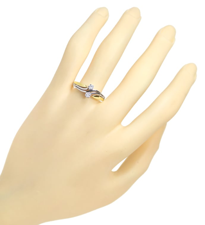 Foto 4, Toi et Moi Diamantring 0,19ct Brillanten 14K Gold, S1972