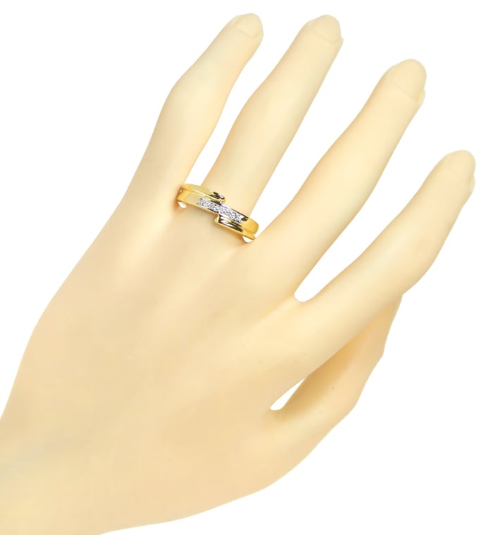 Foto 4 - Designer Diamantring 5 Brillanten in 14K Gold, S1982