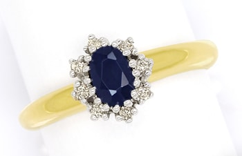 Foto 1 - Brillantring mit 0,60ct ovalem Saphir in 14K Gold, S1984