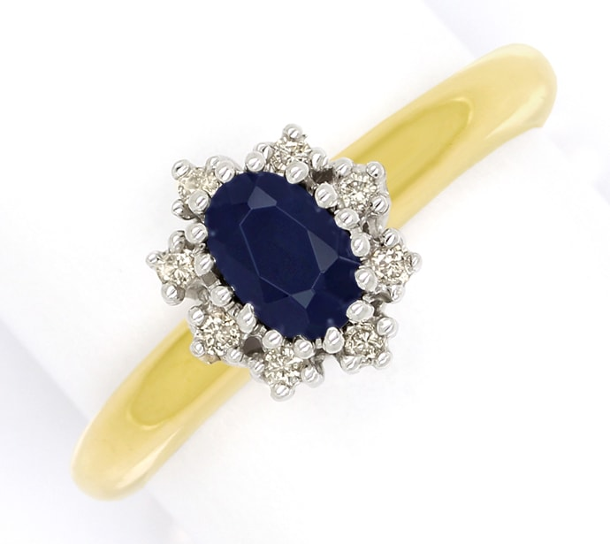 Foto 2 - Brillantring mit 0,60ct ovalem Saphir in 14K Gold, S1984