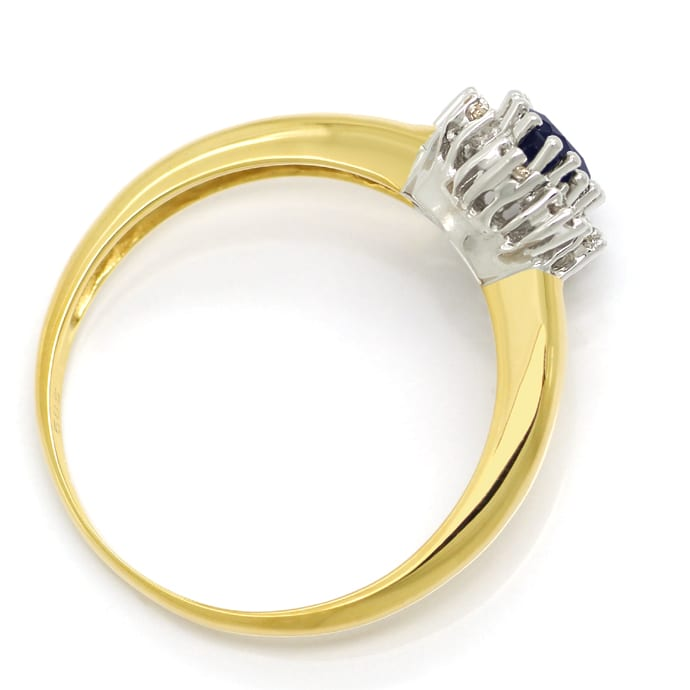 Foto 3 - Brillantring mit 0,60ct ovalem Saphir in 14K Gold, S1984