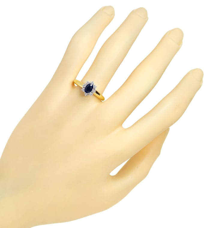 Foto 4 - Brillantring mit 0,60ct ovalem Saphir in 14K Gold, S1984