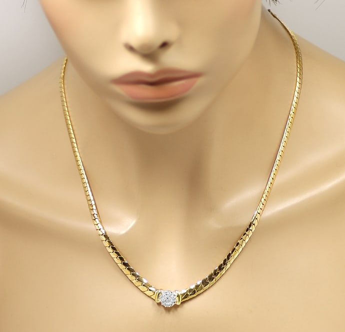 Foto 4, Diamanten Collier mit 0,36ct Brillanten in Bicolor Gold, S1989