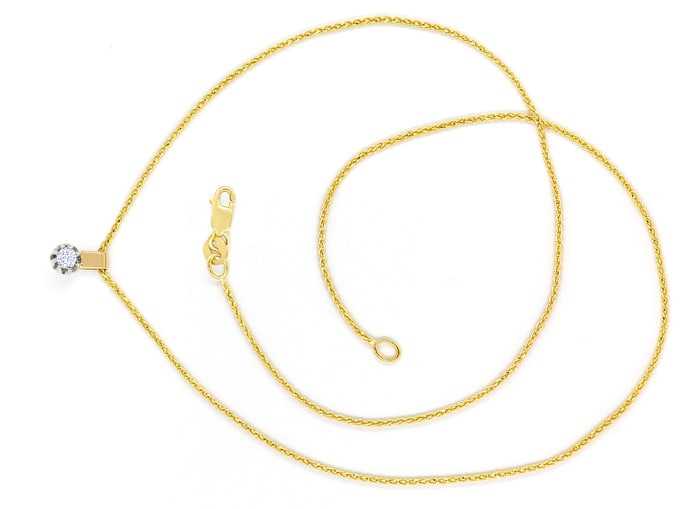 Foto 1, Collier mit 0,14ct Solitär Brillant in 14K Bicolor Gold, S2000
