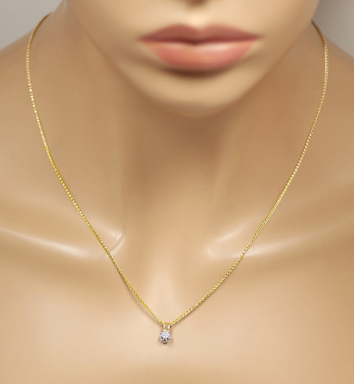 Foto 4, Collier mit 0,14ct Solitär Brillant in 14K Bicolor Gold, S2000