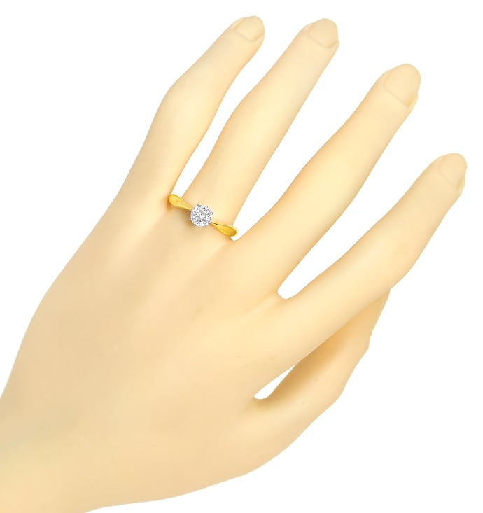 Foto 4, Diamantring mit 0,64ct Solitär 585er Bicolor Gold, S2003