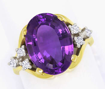 Foto 1 - Diamantring mit 5,8ct Amethyst und Diamanten in 585er , S2005
