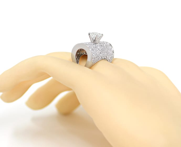 Foto 4, Platin Ring 1,5ct Solitär Brillant und 2ct Diamanten, S2040