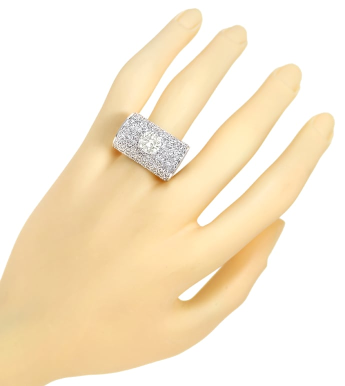 Foto 5, Platin Ring 1,5ct Solitär Brillant und 2ct Diamanten, S2040