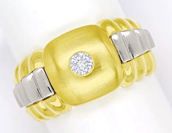 Foto 1, Herrenring lupenreiner 0,22ct Brillant 14K Gold, S2043