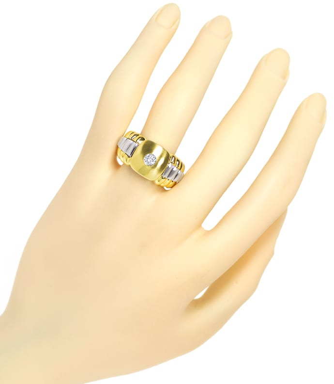 Foto 4, Herrenring lupenreiner 0,22ct Brillant 14K Gold, S2043