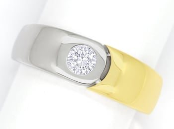 Foto 1 - Designer Bandring mit 0,23ct Brillant in 18K Bicolor Gold, S2058