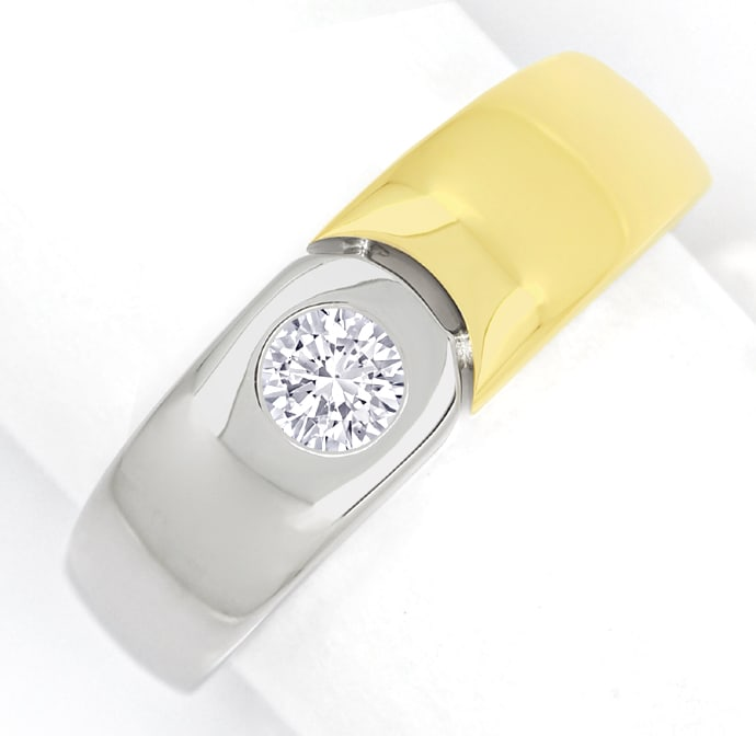Foto 2 - Designer Bandring mit 0,23ct Brillant in 18K Bicolor Gold, S2058