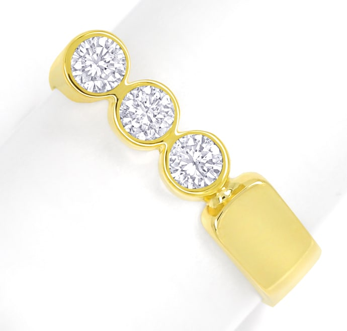 Foto 2, Designer Diamantring 0,6ct Brillanten in Gelbgold, S2069