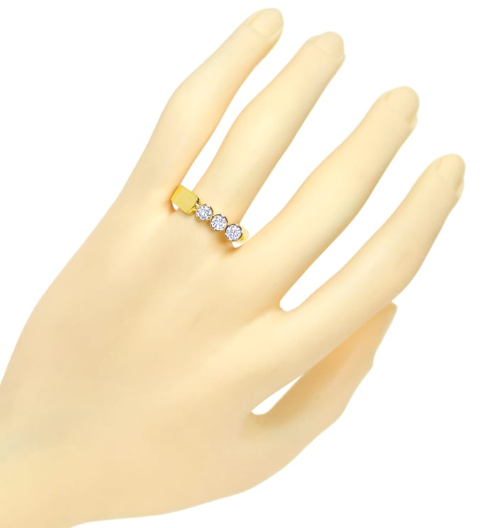 Foto 4, Designer Diamantring 0,6ct Brillanten in Gelbgold, S2069