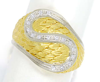 Foto 1, Design Feder Bandring mit 16 Diamanten in 18K Gold, S2073