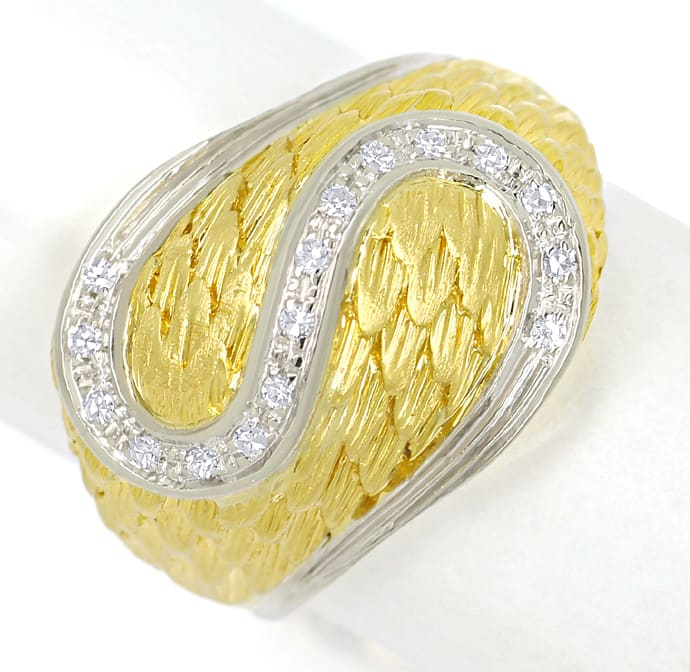 Foto 2, Design Feder Bandring mit 16 Diamanten in 18K Gold, S2073