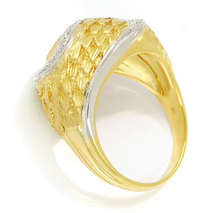 Foto 3, Design Feder Bandring mit 16 Diamanten in 18K Gold, S2073