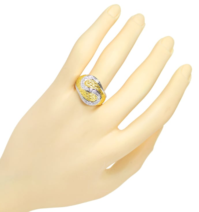 Foto 4, Design Feder Bandring mit 16 Diamanten in 18K Gold, S2073