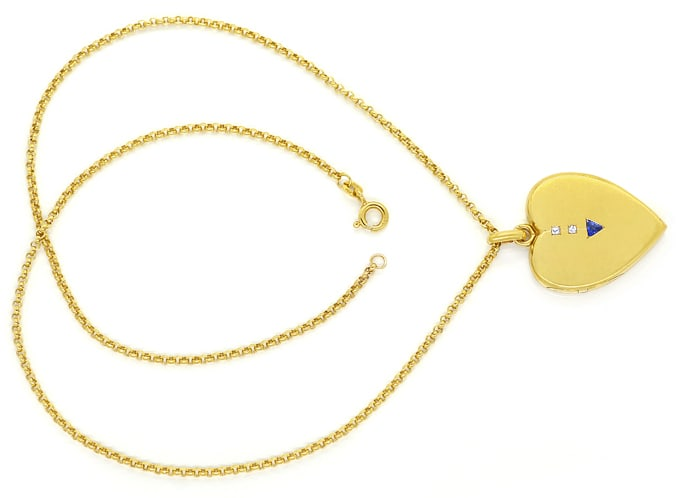 Foto 1, Antikes Herz Medaillon Safir Diamanten in Gold an Kette, S2076