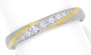 Foto 1, Designer Diamantring 0,09ct Brillanten Bicolor Gold, S2086