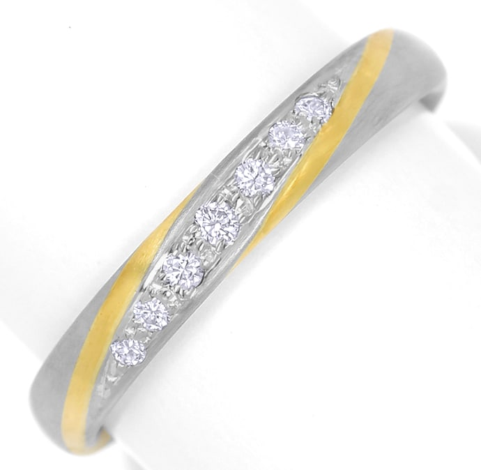 Foto 2, Designer Diamantring 0,09ct Brillanten Bicolor Gold, S2086