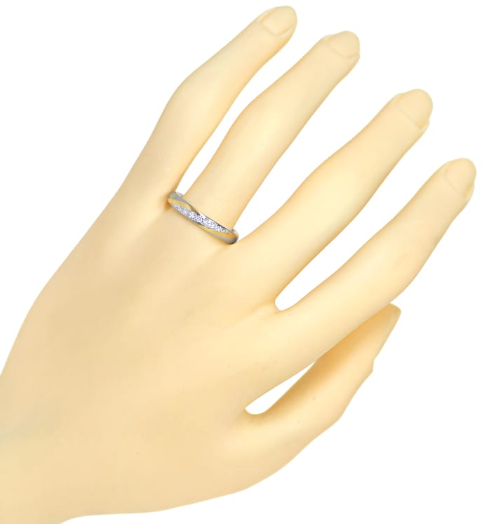 Foto 4, Designer Diamantring 0,09ct Brillanten Bicolor Gold, S2086