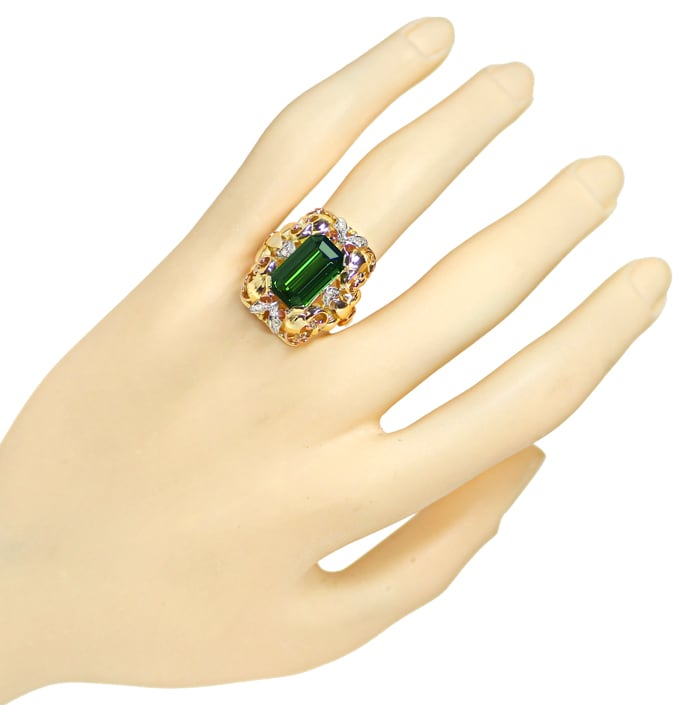 Foto 4 - Tricolor Diamantring 5,70ct 1A Turmalin in 14K Gold, S2096