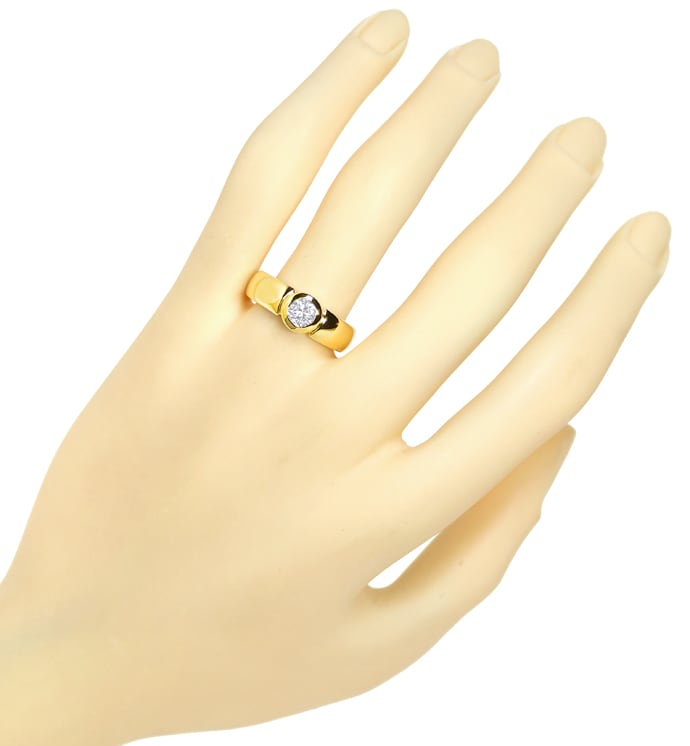 Foto 4, Diamantbandring 0,51ct Brillant Solitär 18K Gelbgold, S2106